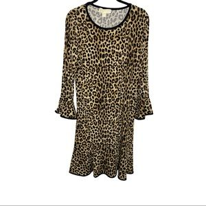MICHAEL Michael Kors Leopard Flounce Dress Medium